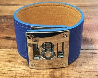Royal Blue Leather Buckle Cuff - Silver Hardware