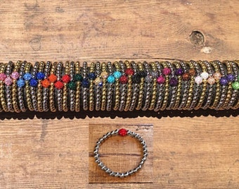 Rustic Single Bead Shamballa Bracelet - with Gold or silver