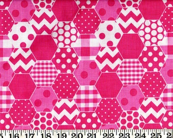 SALE! Riley Blake Cotton Fabric Hexi Hot Pink By the Yard #560-2