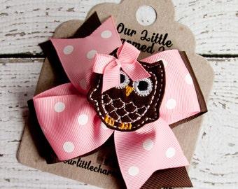 Owl Hair Bow, Owl Hairbow, Owl Hair Accessories, Pink Hair Bow, Newborn Hair Bow, Owl Hair Clip, Baby Hair Bow, Bows for Babies, Owl Bow
