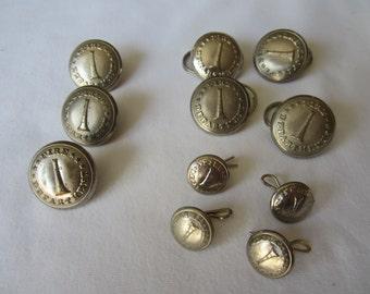 Set Fireman Vintage Fire Department Bugle Metal Uniform Buttons