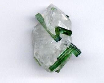 38.9 ct. Beautiful Green Blue Tourmaline Bunch Specimen with Quartz