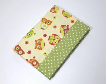 A6 covered notebook, fabric notepad, owls, green polka dots