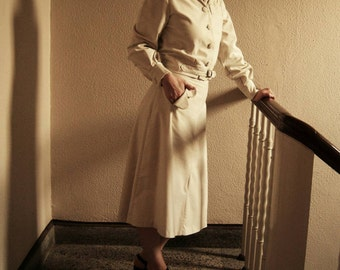 1940s style cream corduroy skirt suit M