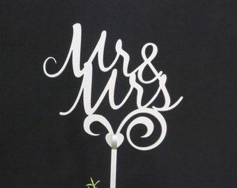 Mr & Mrs cake topper, Silver cake topper, wedding cake topper, wooden cake topper, custom cake topper