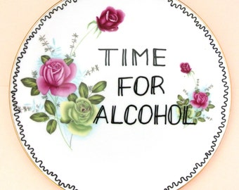 Time for Alcohol Decorative Floral Plate Pink Roses Funny Gift for Her Ornamental Coming of Age 18th 21st Present Adult Pretty Birthday