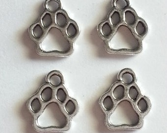 10, 20, or 50  Paw  Print Charms Pendants, 11x13mm, antique silver, animal lover