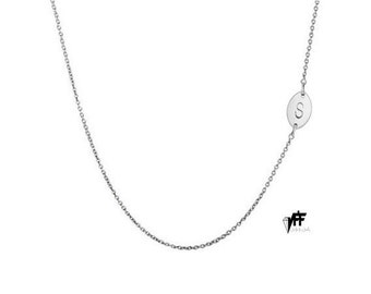 """Oval side Initial necklace, 1/2"""" personalize oval necklace any letter pendant for bridesmaids mothers day .925"""