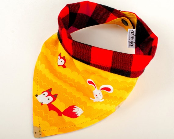 Orange cotton fox bib, Red Buffalo plaid flannel bib, Woodland animals bib, Reversible bib, Forest creature toddler bib, Teething baby scarf