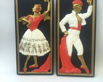Mid Century Spanish Dancer and Matador Vintage Art