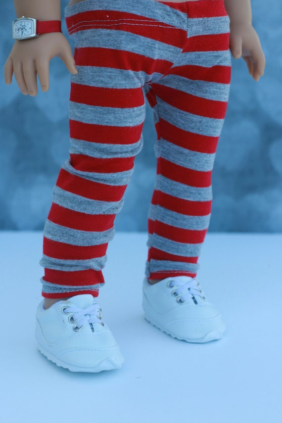 18 Inch Doll Clothes | Red and Gray Stripe Knit LEGGINGS | PANTS for 18 Inch Doll such as American Girl Doll