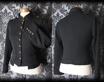 Gothic Black Brass Button MILITARY Peplum Riding Jacket 10 12 Victorian Vintage