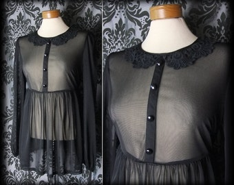 Gothic Black Sheer Lace Peter Pan Collar PENITENCE Dress 8 10 Victorian Vintage