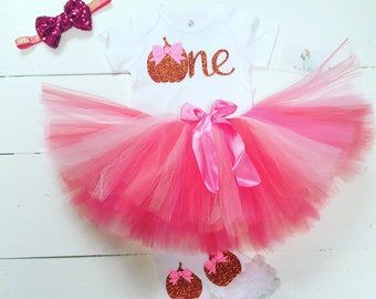 Pumpkin birthday outfit / pink and orange Pumpkin birthday outfit / 1st birthday Pumpkin outfit