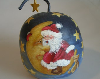 large vintage hand painted SANTA GOURD on Crescent Moon with stars blue gold Christmas Holiday Ornament decor St Nick