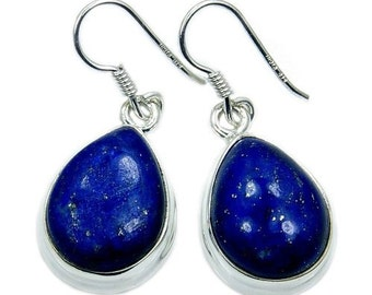 Deepest Blue Lapis Lazuli & Sterling Silver Dangle Earrings AD677