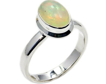 Shimmering Ethiopian Opal Ring October Birthstone Ring Jewelry & .925 Sterling Silver Ring Size 7.75 , AD836