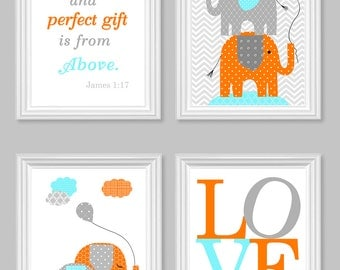 elephant nursery elephant wall decor baby room decor aqua gray orange baby