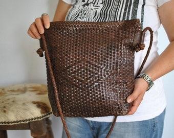 Vintage HANDMADE LEATHER BAG , women's  shoulder bag ...(288)