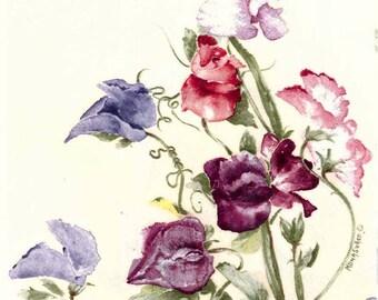 4 Decoupage Napkins | Wild Sweet Peas in Watercolor | Wildflower Napkins | Floral Napkins | Watercolor Napkins | Paper Napkins for Decoupage