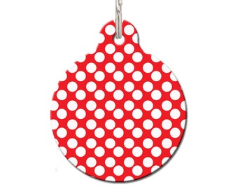Red & White Spots Pet ID Tag | FREE Personalization