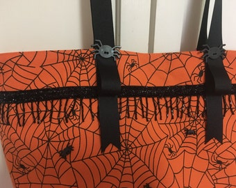 Halloween large fabric placemat shoulder bag with spider buttons and beading
