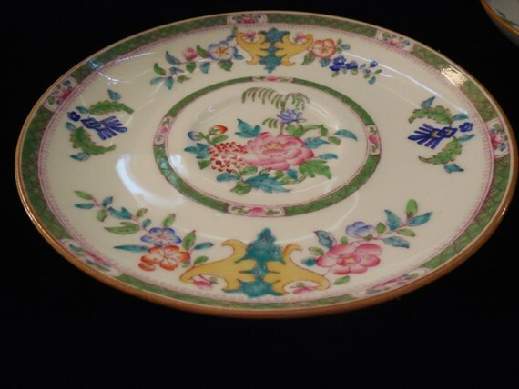 Minton China, set of three tea dishes. Beautiful Floral Asian inspired design, In perfect condition. Perfect wedding gift.