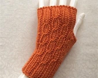 Knit Fingerless Gloves, Short Hand Warmers, Fingerless Triple CableBack Short - Persimmon Orange
