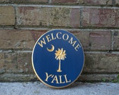 """Blue """"Welcome Y'all"""" Palmetto Tree and Moon Carved Wood Sign"""