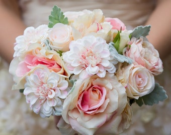 Faux flower pastel blush bridal bouquet 'pastel dreams'