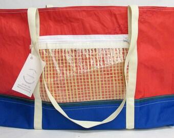 sailcloth bag, sail bag, recycled sail, recycled sail bag, red tote, WE008E