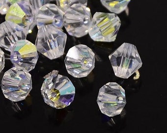 Faceted Clear AB Crystal Glass Bicones - 6MM