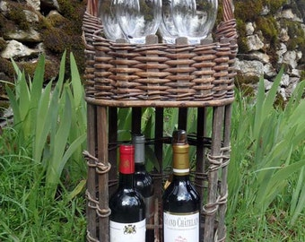 Rare French vintage wicker wine and glasses basket
