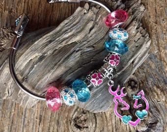 Browning deer heart pink and teal charm bracelet: buck and doe heart pink and blue bracelet Valentines for hunter I love you deer