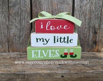 Christmas blocks i LOVE my little ELVES MiNi wood stacker block set block set Give thanks Jingle bells block thanksgivng block holiday decor