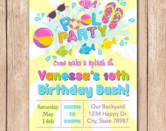 Pool Party Birthday Invitation | Girl, Water Bash - 1.00 each printed
