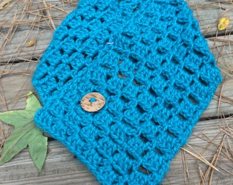 Blue cowl, Blue cowl with wooden button Neckwarmer, Womens Scarf, Winter Scarf, Crochet Scarf