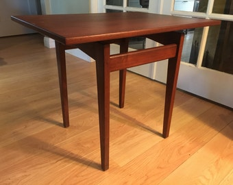 Vintage Mid Century walnut Jens Risom floating rectangular accent end table fully restored