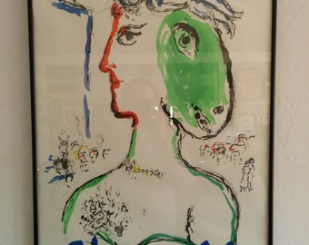 """Vintage lithographic poster of the """"Artist as Phoenix"""" by Chagall for the Galerie Maeght 1972"""
