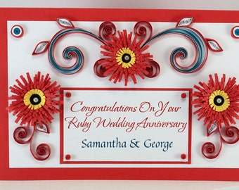 Ruby Wedding Congratulations Card - Handmade Quilling Anniversary Card - On Your Ruby Anniversary - Ruby Color Card