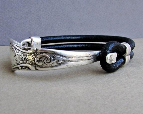 Silver Fork Bracelet, Spoon Bracelet, Leather Bracelet, Eco Friendly, customized to your wrist