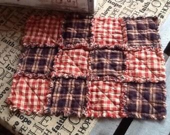 2 all American Homespun Rag placemats