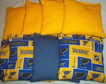 8 ACA Regulation Cornhole Bags - 8 NHL St. Louis Blues and Solid Yellow