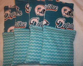 8 ACA Regulation Cornhole Bags - 8 handmade from Miami Dolphins & Aqua Waves
