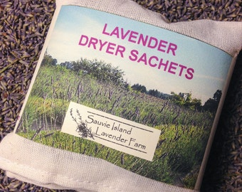 Eco-Friendy Lavender Dryer Bags - Set of 3 - Reusable, Natural Muslin, Organic Lavender