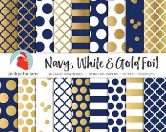 Gold Digital Paper - faux gold foil, navy & white - dots stripes confetti moroccan trellis blue nautical preppy photography backdrop 8085