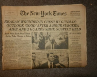 The Reagan Times - The New York Times, March 31,1981, Attempted Assassination of Pres.Reagan
