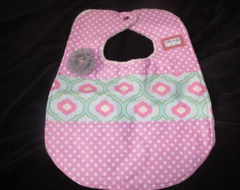 baby girl shabby chic bib - Michael Miller & Dena Fishbein fabrics - absorbent and ready to ship!