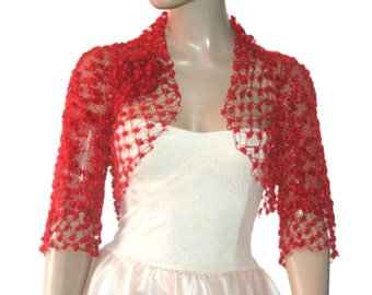 Wedding Bridal Bolero Shrug Lace Crochet Shrug Boleros Red