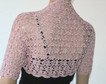 Dusty Pink Wedding Bolero/ Shrug crochet silk